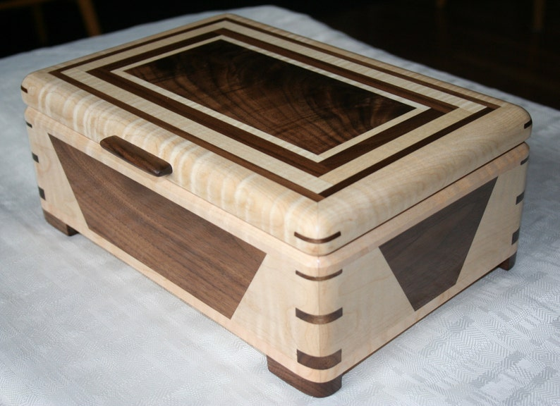 Figured Maple and Walnut Wood Jewelry Box 5th Anniversary image 0