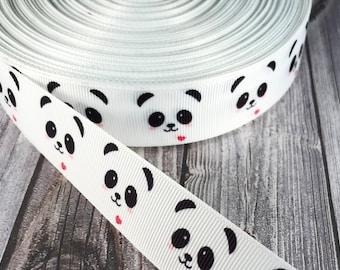 """1"""" Panda ribbon - Panda heart - Heart ribbon - Grosgrain ribbon - Animal ribbon - Panda theme - Panda bow DIY - Key fob ribbon - Pretty"""