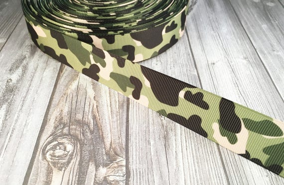 "1/"" UNITED STATES ARMY GREEN CAMO GROSGRAIN RIBBON BY THE YARD USA SELLER"