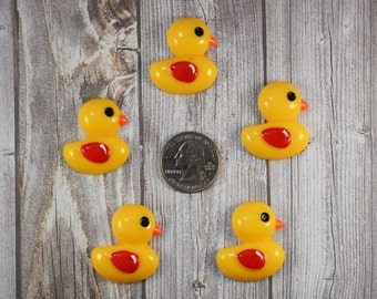 Ducky flatback resins - 5pc Duck cabochons - DIY ducky hair bows - Craft supplies - Hair bow centers - Yellow duckies - Jewelry supplies
