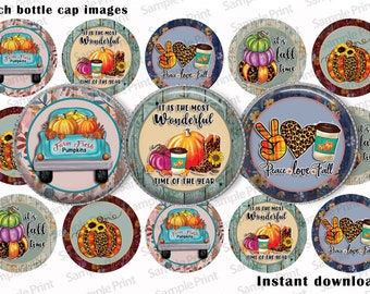 Fall images - Fall BCI - Pumpkin BCI - Fall harvest BCI - Harvest images - Bottle cap images - 1 inch circles - Autumn images - Craft circle