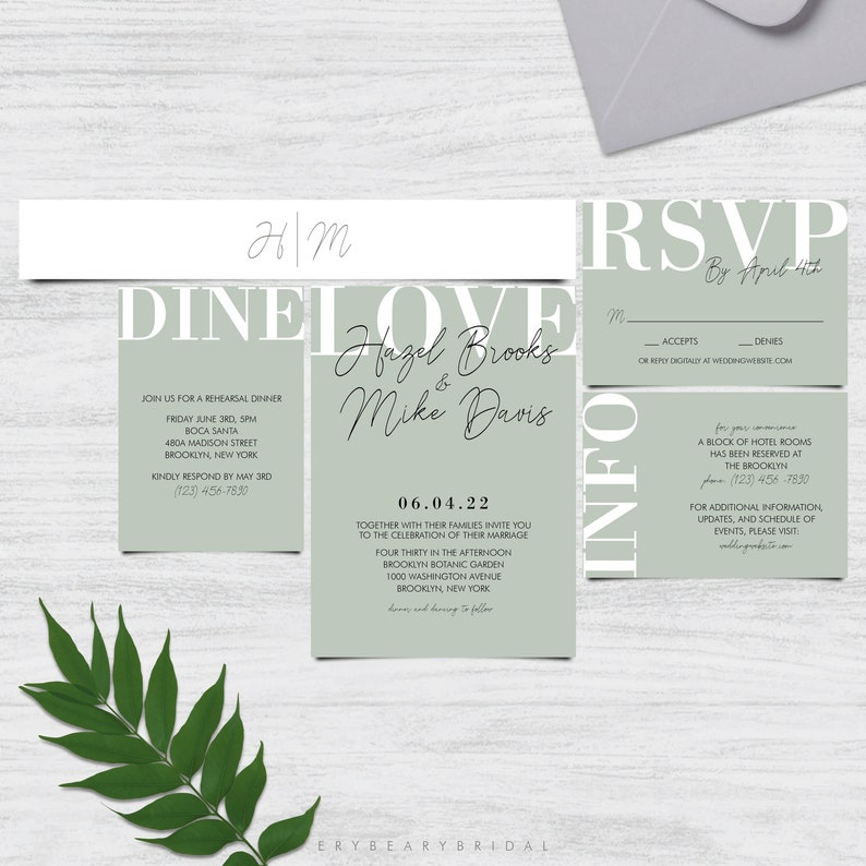 5 to 7 Piece Suite Hazel Dusty Sage Light Green Modern Minimalist Wedding Invitation Template DIY Edit Printable TEMPLETT Belly Band