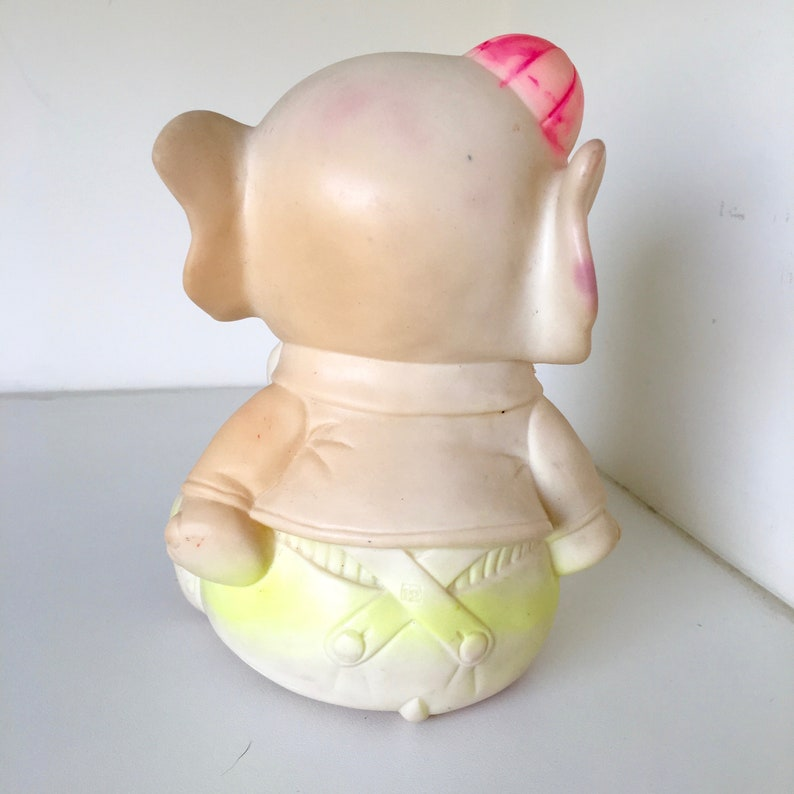 Edward Mobley 1961 Elephant Squeaker Overalls Bowtie Vintage Toy