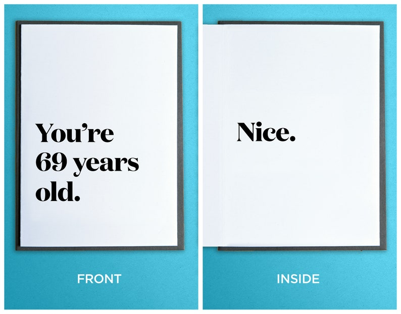 Funny Birthday Card  Getting Older Card  You're 69 years image 0