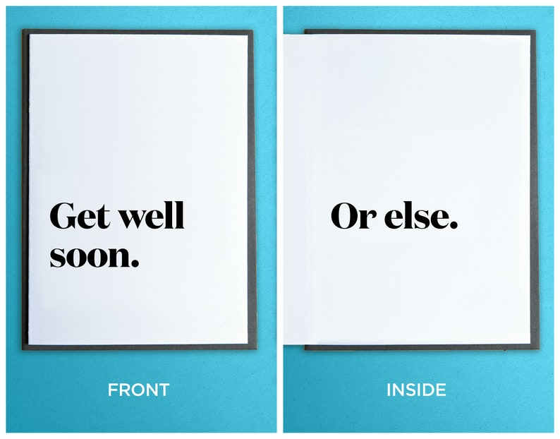 Funny Sympathy Card  Funny Get Well Soon Card  Funny image 0