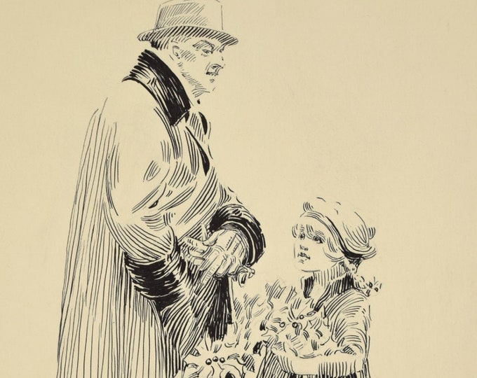 Circa 1910 Ink Drawing Wealthy Man buying Wreath from Little Girl Michigan Artist