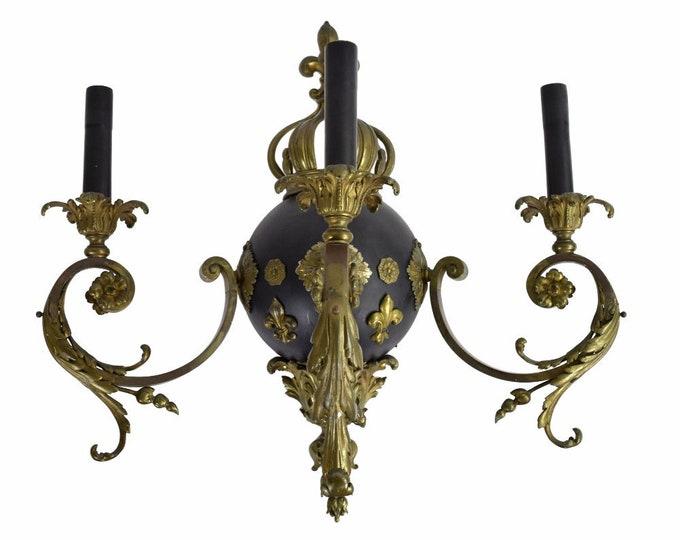 Vintage French Empire Bronze Wall Sconce Acanthus Fleur de Lis Crown