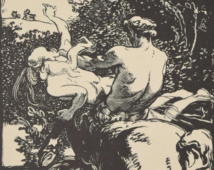AUGUSTE LOUIS LEPERE – Le Centaure, Centaur 1902 Wood Engraving