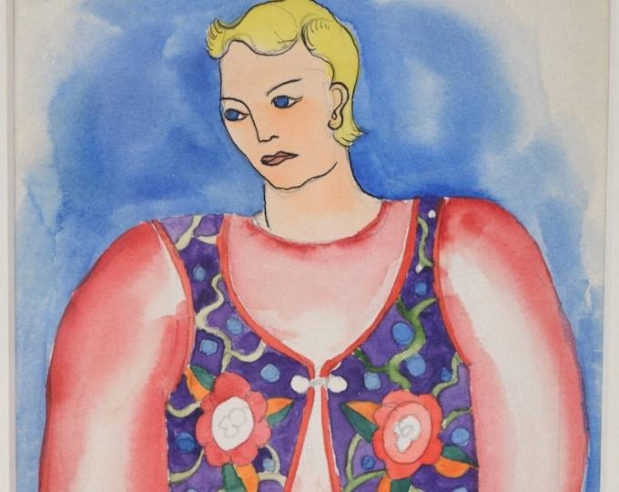 """Depression Era Blonde Haired """"Folk Dancer"""" Watercolor Painting Karl Gasslander"""