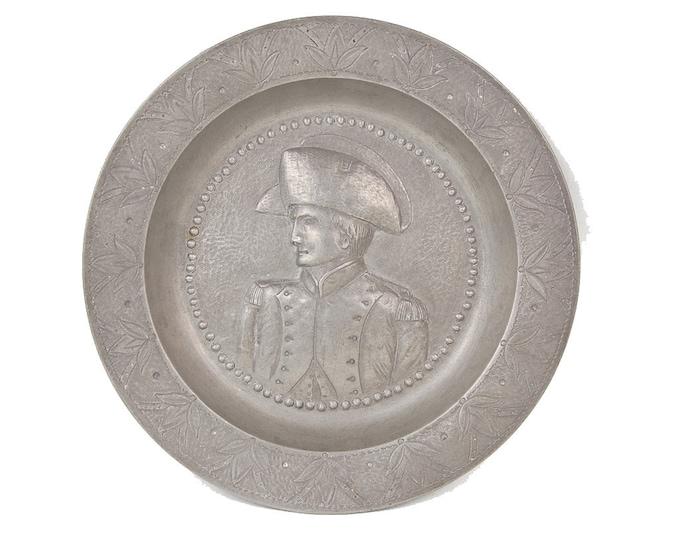 Antique 19th C. Carl Reutlinger Pewter Bowl Profile Military Officer