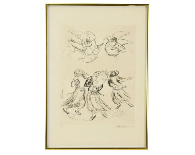 """Dancing Rabbis and Angels """"Reaches of Heaven No.18"""" Etching by Ira Moskowitz"""