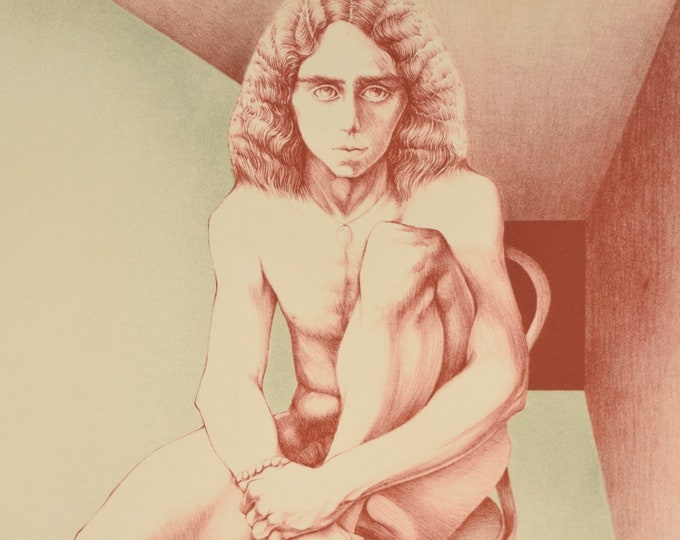 1970s Color Lithograph L/E Print of Nude Young Man Chicago Artist