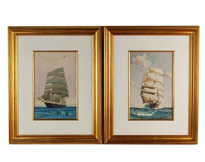 Pair Vintage Gordon Grant Original Watercolor paintings Tall Ships at Sea w Dolphins