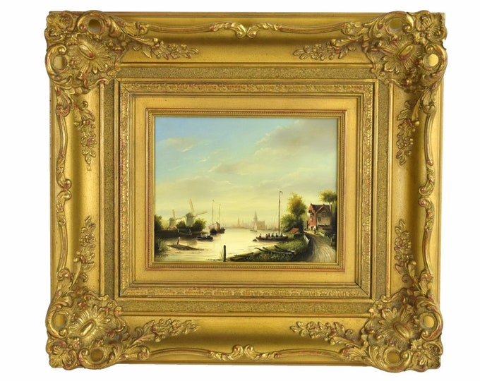 Original Oil Painting 19th Century Style Dutch Cityscape w Windmills signed Hoppe