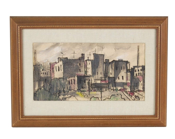 Vintage Mid-Century Modern Architectural Abstracted Cityscape Watercolor Painting