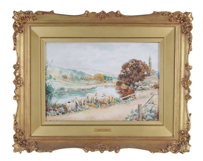 Antique English Countryside Pastoral Sheep Crossing Bridge Watercolor Painting Hedley S. Vicars