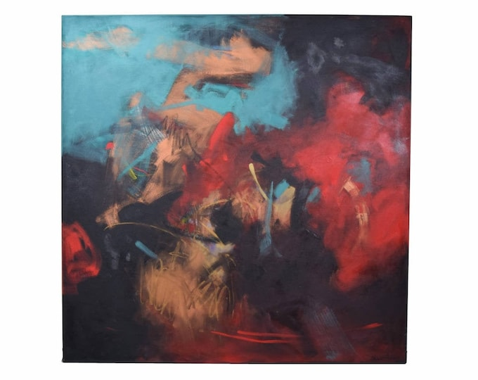 """1989 Noel Hudson Reidy """"Night Moves"""" Large Abstract Oil Painting Taos"""