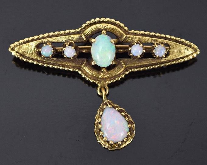 Vintage Edwardian Style 14k Yellow Gold Tear Drop Fire Opal Pendant Pin Brooch