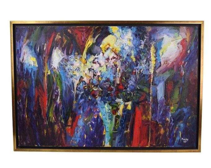 "Vintage Sevki KuzayTurkish Abstract Expressionist Oil Painting ""A Bouquet"""