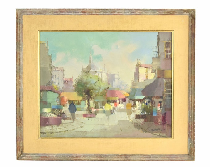 Vintage Mid-Century Modern Abstract Cityscape signed Jacques Cordier