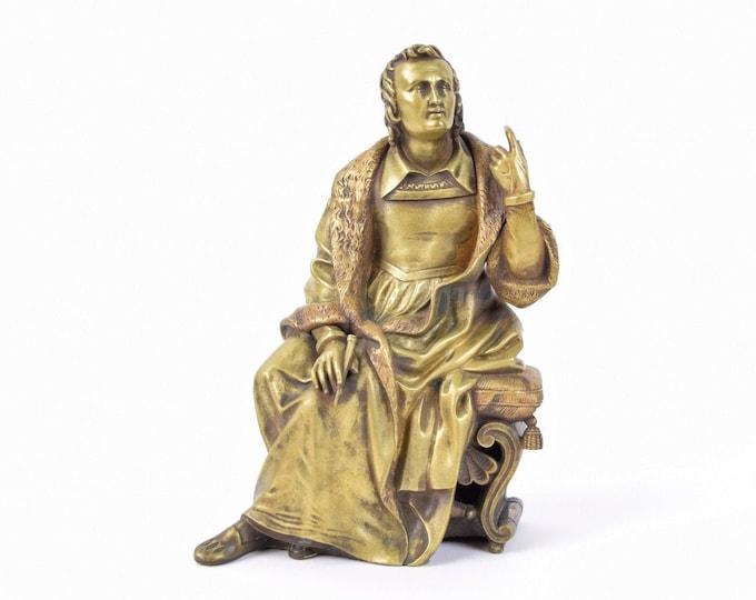 Vintage Bronze Sculpture Renaissance-Era Man with Pen or Chisel