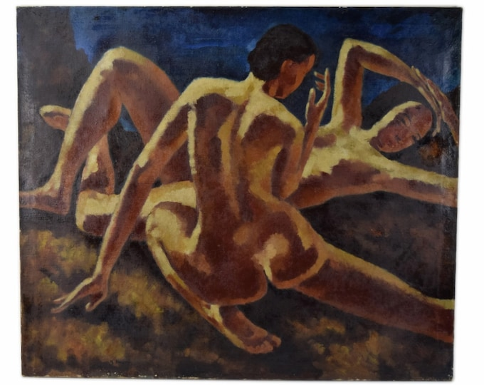 Vintage Oil Painting WPA Depression Era Nudes Figures in Repose by Kenneth Shopen Circa 1930's
