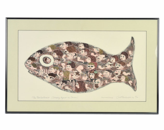 """Curt Frankenstein L/E Lithograph """"The Non-Conformist"""" Surrealist Fish"""