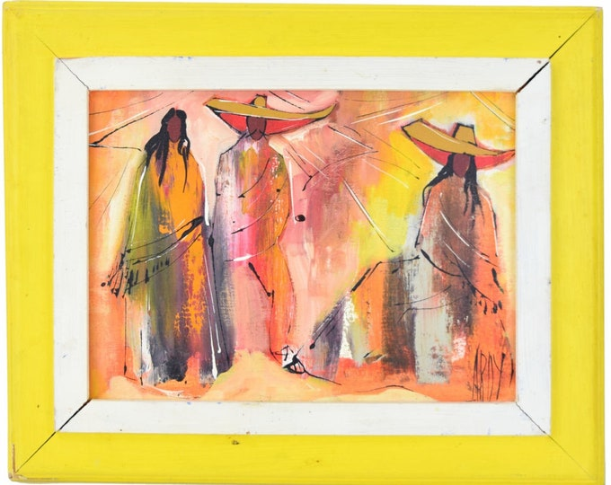 Vintage Oil Painting Latin American Peasants in Mod 1970's Fashion signed Ardy