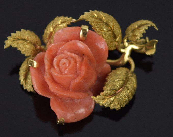 Vintage Estate 18k Solid Gold European Carved Coral Flower Pin Brooch