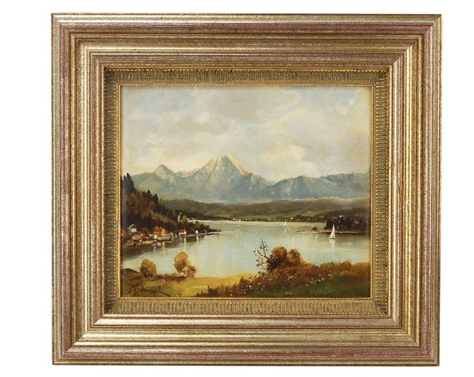 Finely Rendered Austrian Oil Painting View of Lake Faaker Mittaskogel Mountain by Schinzel