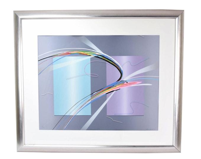 "Modern Abstract Limited Edition Lithograph ""Tiko"" signed Elba Alvarez"