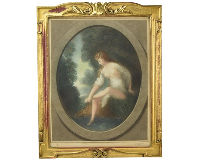 Antique English Lithograph Semi Nude Woman in Gown at Along a Stream