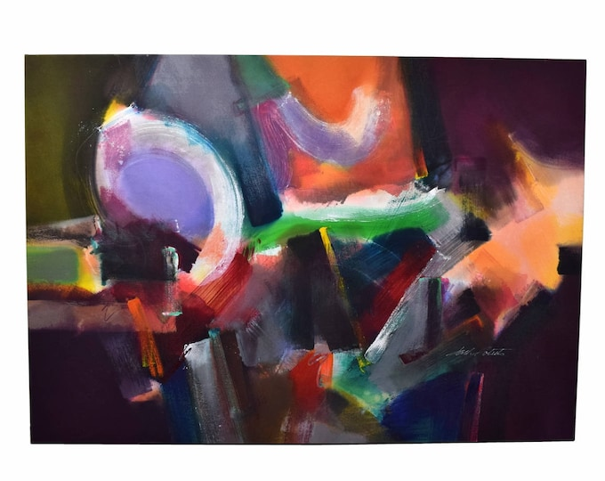 Large 1980s Colorful Abstract Oil Painting on Canvas signed Jack Roberts