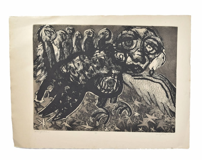 Vintage Lithograph Abstracted Surrealist Creatures Sandy Slone Barkell