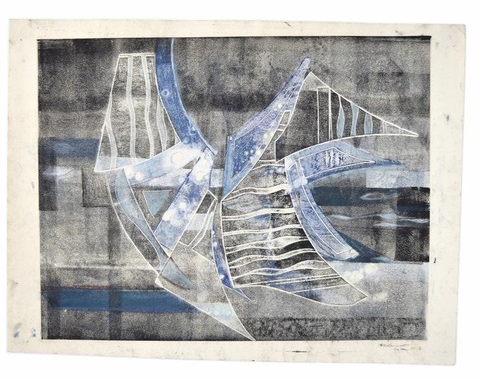 1987 Vintage Modern Abstract Geometric Block Print Signed KC Bennett