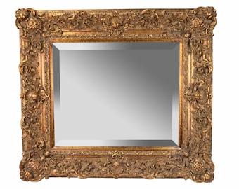 Antique Style Baker Furniture Co. Beveled Mirror Ornate Giltwood Frame