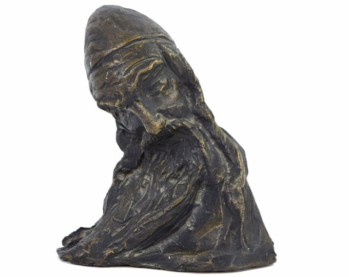 1973 Nahum Arbel Bronze Sculpture Bust of Bearded Jewish Man signed