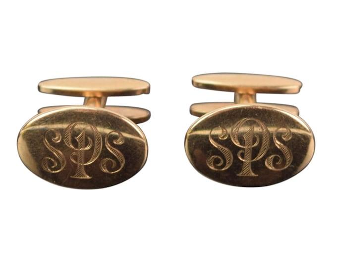 Vintage Art Deco Pair 10K Yellow Gold Cuff Links Cufflinks Monogrammed SPS or SSP
