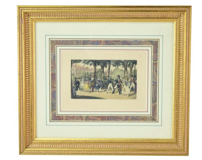 Original Antique Hand Colored Engraving Gentlemen Fighting in Park by Alken