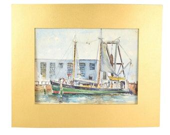 "1940's Watercolor Painting ""Vagabond"" Boston Dragger in New Bedford Harbor"