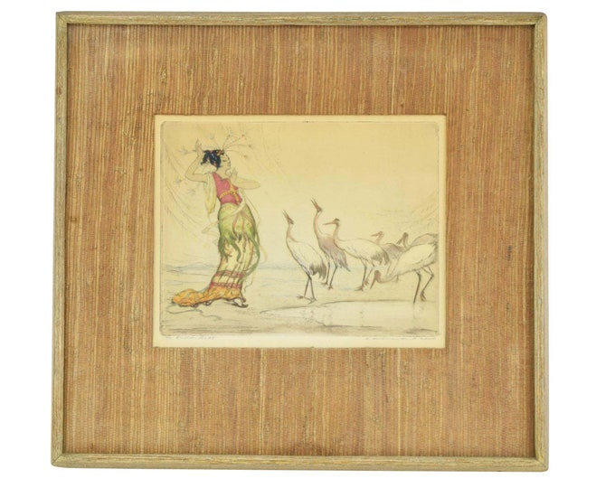 1920's Hand Colored Etching The Enchantress Woman Communing with Cranes