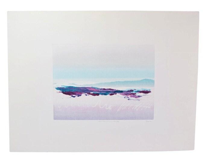 "Vintage Abstracted Landscape Monoprint ""Land Transition"" Signed Pessie"