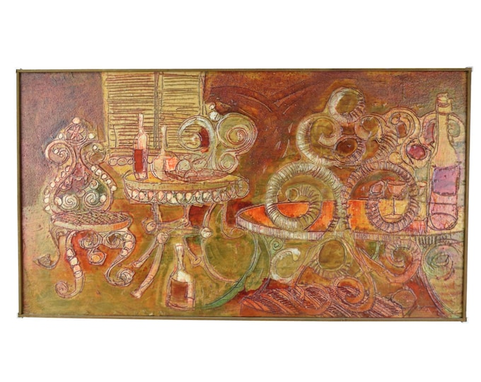"""1962 Mid-Century Modern Textural Abstract Oil Painting """"Red Saloon"""" Dick Detrich Chicago"""