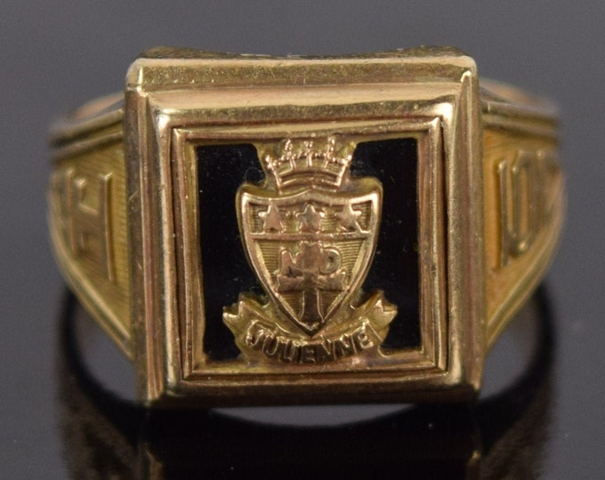 Vintage 1950 Julienne School Dayton Ohio Class Ring Spies brothers 10K Gold