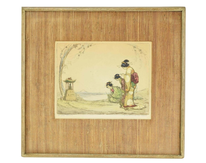 1920's Hand Colored Etching The Little Shinto Shrine 3 Japanese Women Praying