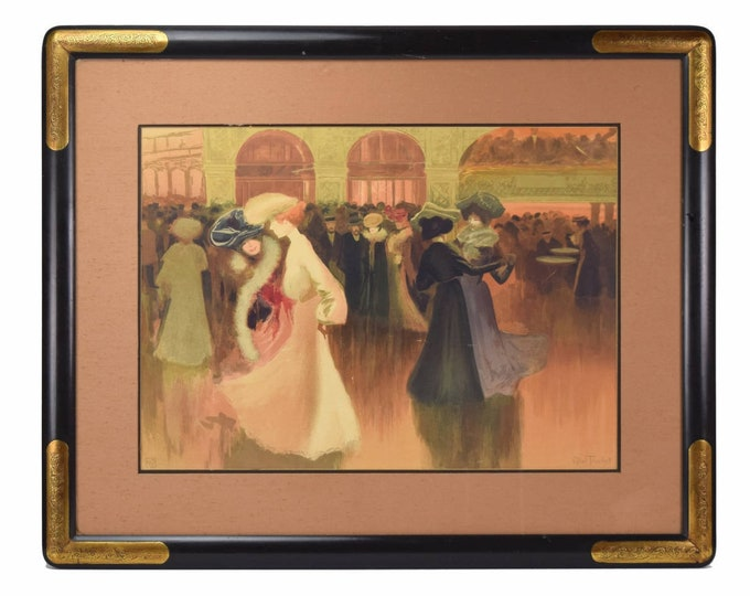 "Louis Abel-Truchet ""Les Danseuse"" Color Lithograph Women Couples Dancing"