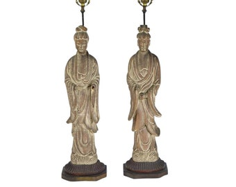 Vintage Pair 1940's  Kwan Yin Kuan Yin Carved Wood Figural Lamps