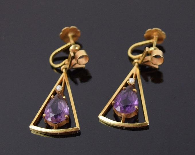 Vintage Modern Pair 18k Gold Geometric Earrings Teardrop Amethyst Seed Pearl