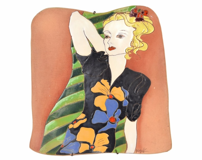 Large Vintage Studio Art Pottery Wall Plaque Woman in 1940's Colorful Dress Kozek