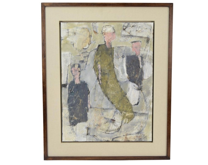 "Philip Jones ""3 of Us"" 1987 Oil Painting Abstract Figures British Artist"